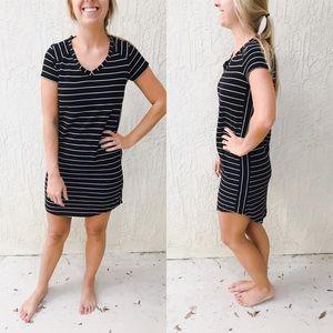 Merona Black and White Striped T Shirt Dress